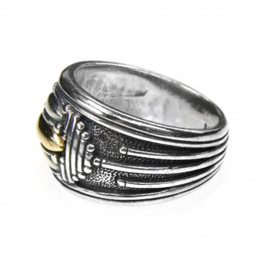 Gerochristo 2664 ~ Solid Gold & Silver - Medieval Byzantine Band Ring