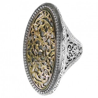 Gerochristo 2666 ~ Solid Gold, Sterling Silver & Diamonds Medieval-Byzantine Large Ring