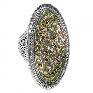 Gerochristo 2667 ~ Solid Gold, Silver & Rubies Medieval-Byzantine Cocktail Ring