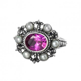 Gerochristo 2669N ~ Sterling Silver & Stones Medieval-Byzantine Cocktail Ring