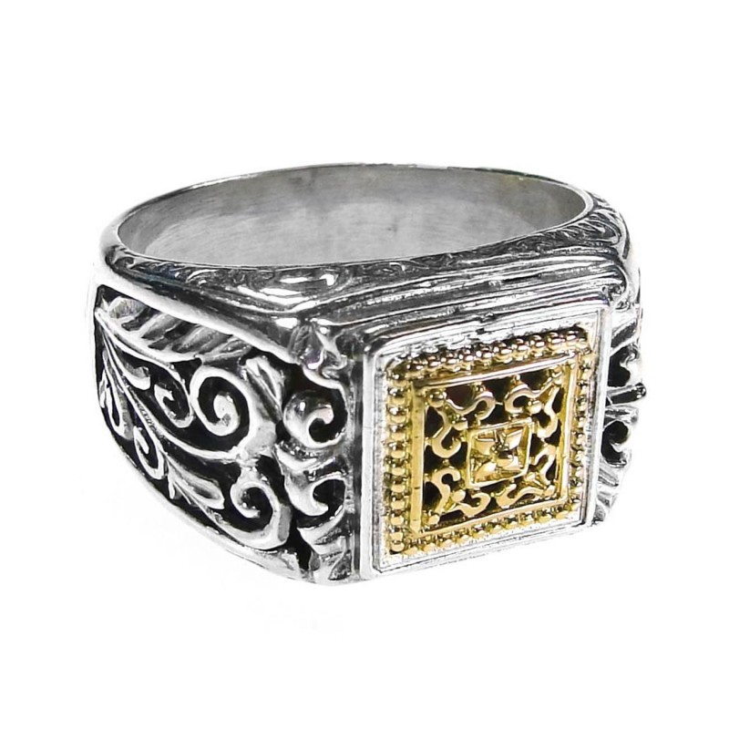 Designer Gold And Silver Band Ring