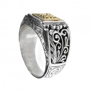 Gerochristo 2686 ~ Solid Gold & Silver Medieval-Byzantine Filigree Band Ring
