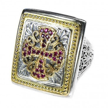 Gerochristo 2689 ~ Solid 18K Gold, Sterling Silver & Rubies Medieval Maltese Cross Ring