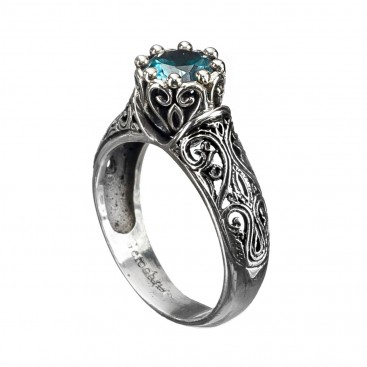 Gerochristo 2713N ~ Sterling Silver & Zircon Medieval Solitaire Ring
