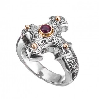 Gerochristo 2714 ~ Solid Gold, Silver & Ruby - Medieval-Byzantine Cross Ring