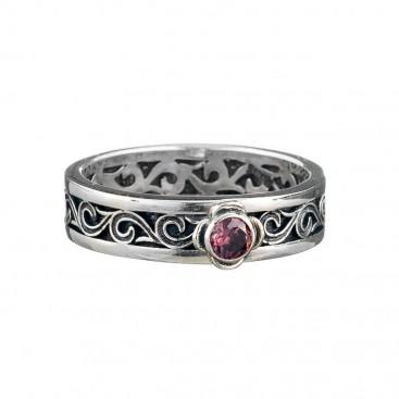 Gerochristo 2715N ~ Sterling Silver Medieval-Byzantine Band Ring