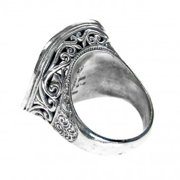 Gerochristo 2716 ~ Solid Gold & Sterling Silver - Medieval-Byzantine Single Stone Ring