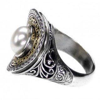 Gerochristo 2718 ~ Solid Gold & Sterling Silver Medieval-Byzantine Ring