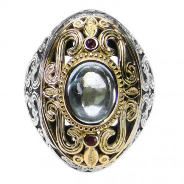 Gerochristo 2720 ~ Solid Gold and Silver Multi Stone Medieval-Byzantine Large Ring