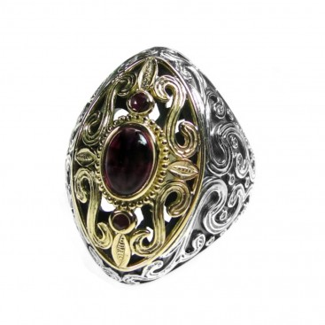 Gerochristo 2725 ~ Solid Gold and Silver Multi Stone Medieval-Byzantine Large Ring