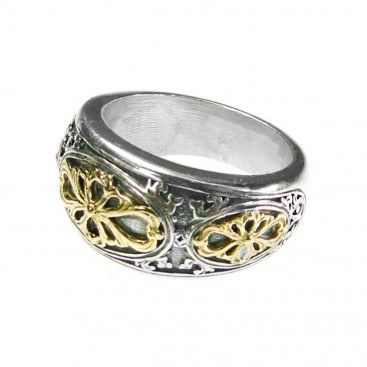 Gerochristo 2729 ~ Solid Gold & Sterling Silver Medieval-Byzantine Ornate Band Ring