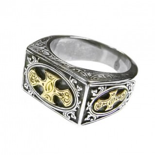 Gerochristo 2730 ~ Solid Gold & Silver Medieval Crosses Ring