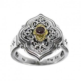 Gerochristo 2752 ~ Solid Gold & Silver Medieval-Byzantine Single Stone Ring