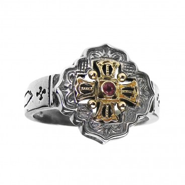 Gerochristo 2756 ~ Solid Gold, Silver & Stone - Medieval-Byzantine Cross Ring