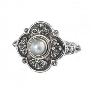 Gerochristo 2759 ~ Sterling Silver & Pearl - Medieval-Byzantine Ring