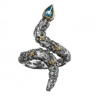 Gerochristo 2765N ~ Solid Gold and Silver Single Stone Snake Wrap Ring