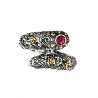 Gerochristo 2766N ~ 18K Solid Gold & Silver Byzantine Bypass Wrap Ring