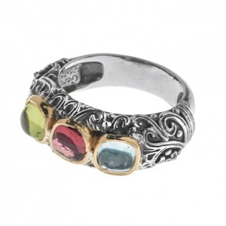 Gerochristo 2768N ~ Solid Gold & Silver Multi Stone Band Ring