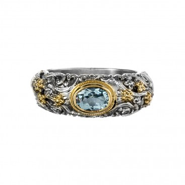Gerochristo 2769N ~ Solid Gold & Silver Medieval Floral Band Ring