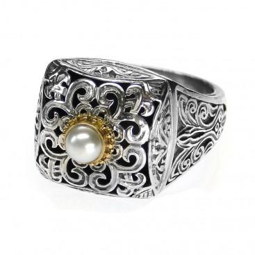 Gerochristo 2779 ~ Gold, Silver & Pearl - Medieval-Byzantine Ring