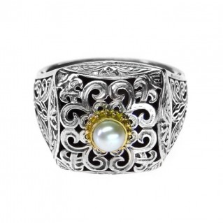 Gerochristo 2779 ~ Gold, Silver & Pearl - Medieval-Byzantine Ring