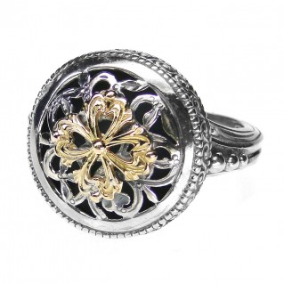 Gerochristo 2781 ~ Solid Gold & Silver Medieval Byzantine Floral Ring