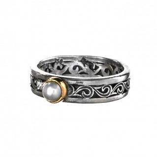 Gerochristo 2781N ~ Solid Gold & Silver Medieval-Byzantine Band Ring
