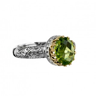 Gerochristo 2783N ~ Solid Gold & Silver Medieval-Byzantine Solitaire Ring