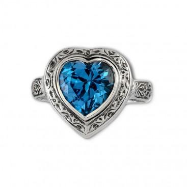 Gerochristo 2784 ~ Sterling Silver & Zircon - Heart Ring