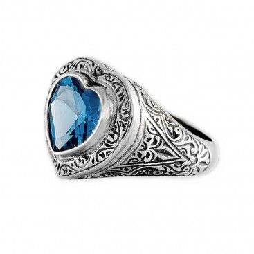 Gerochristo 2785 ~ Sterling Silver & Zircon - Heart Ring