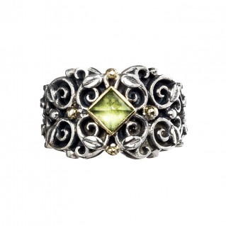 Gerochristo 2787N ~ Solid Gold & Silver Medieval Floral Band Ring
