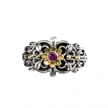 Gerochristo 2789N ~ Solid Gold & Silver Medieval Floral Band Ring