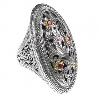 Gerochristo 2793 ~ Solid Gold, Silver and Rubies Medieval-Byzantine Large Filigree Ring
