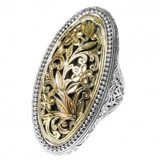 Gerochristo 2795 ~ Solid Gold and Silver Medieval-Byzantine Large Filigree Ring