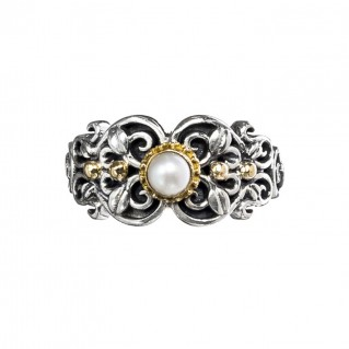 Gerochristo 2795N ~ Solid Gold & Silver Medieval Floral Band Ring