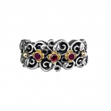 Gerochristo 2799N ~ Solid Gold & Silver Medieval Floral Band Ring