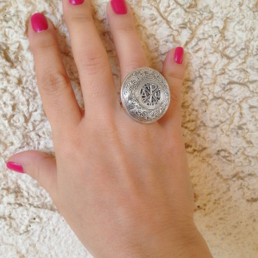 Gerochristo 2814 ~Chi Rho-Chrismon - Sterling Silver Medieval Byzantine Ring