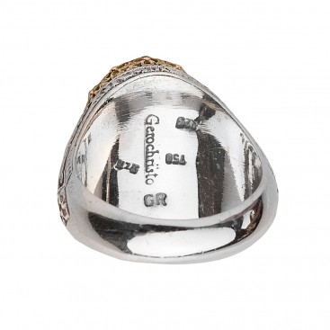 Gerochristo 2835N ~ Solid Gold & Silver Medieval Doublet Cocktail Ring