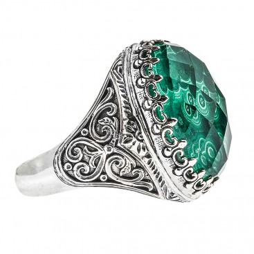 Gerochristo 2867N ~ Quartz over Malachite Doublet Oval Cocktail Ring