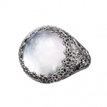 Gerochristo 2853N ~ Quartz and Mother of Pearl Doublet Cocktail Ring