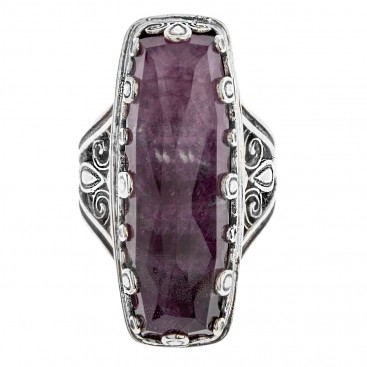 Gerochristo 2873N ~ Quartz over Gemstone Doublet Rectangular Cocktail Ring