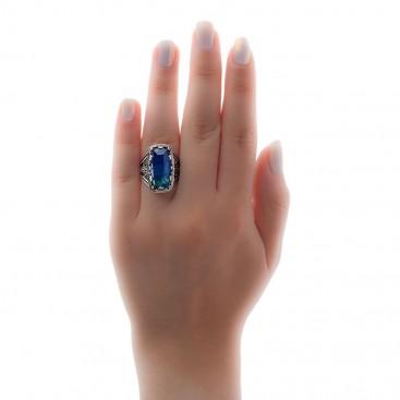 Gerochristo 2874N ~ Quartz over Gemstone Doublet Rectangular Cocktail Ring