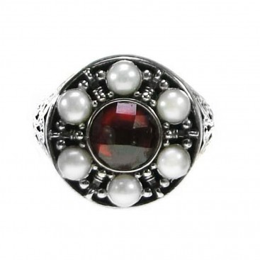 Gerochristo 2879 ~ Sterling Silver & Stones Medieval-Byzantine Cocktail Ring