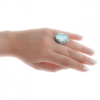 Gerochristo 2895N ~ Clear Quartz over Gemstone Doublet Large Oval Cocktail Ring