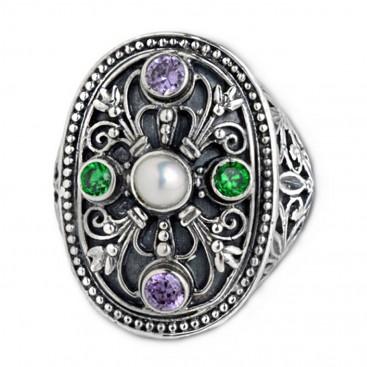 Gerochristo 2920 ~ Sterling Silver, Pearl & Zircon - Medieval Byzantine Multicolor Ring