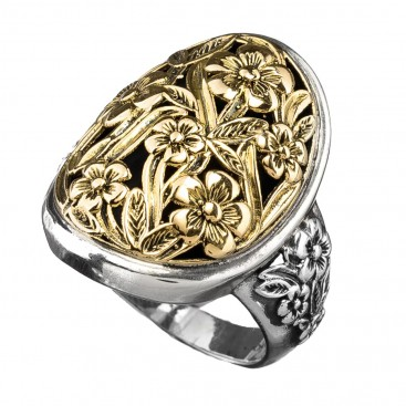 Gerochristo 2930N ~ Solid Gold & Sterling Silver Medieval Flower Ring