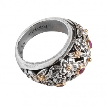 Gerochristo 2937N ~ Solid Gold & Sterling Silver Floral Band Ring