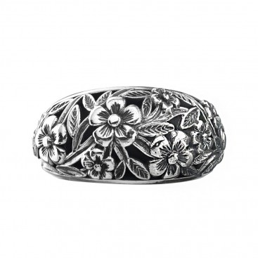 Gerochristo 2945N ~ Sterling Silver Medieval Floral Band Ring