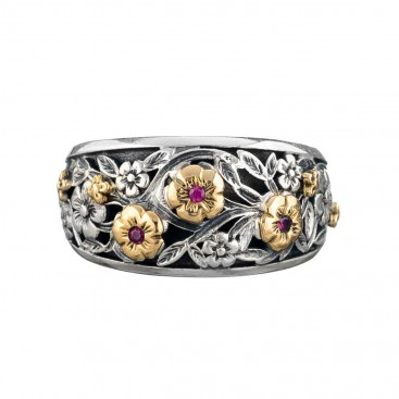 Gerochristo 2947N ~ Solid Gold & Silver Medieval Floral Band Ring