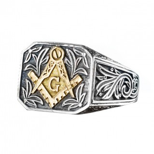 Gerochristo 2951N ~ Solid Gold & Silver Masonic Band Ring